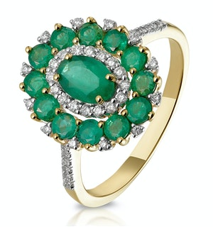 1.35ct Emerald Asteria Collection Diamond Halo Ring in 18K Gold