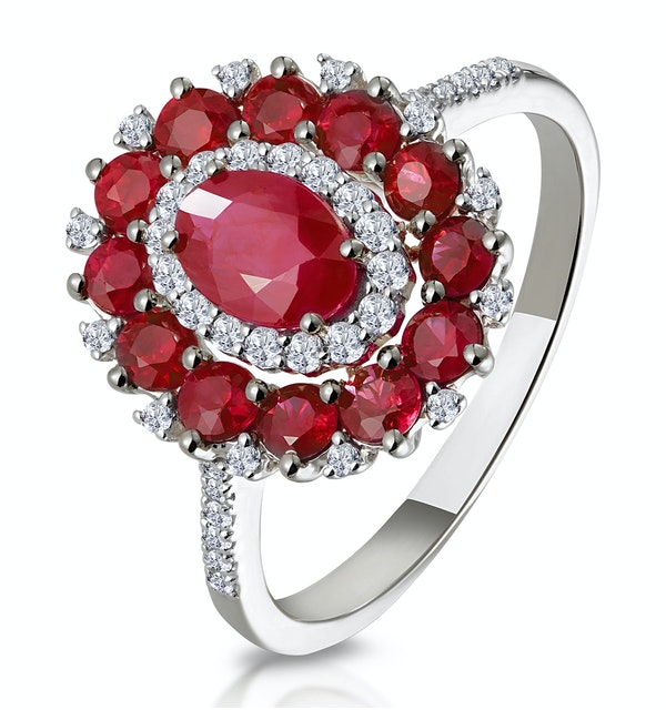 1.55ct Ruby Asteria Collection Diamond Halo Ring in 18K White Gold - image 1
