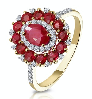 1.55ct Ruby Asteria Collection Diamond Halo Ring in 18K Gold