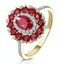 1.55ct Ruby Asteria Collection Diamond Halo Ring in 18K Gold - image 1