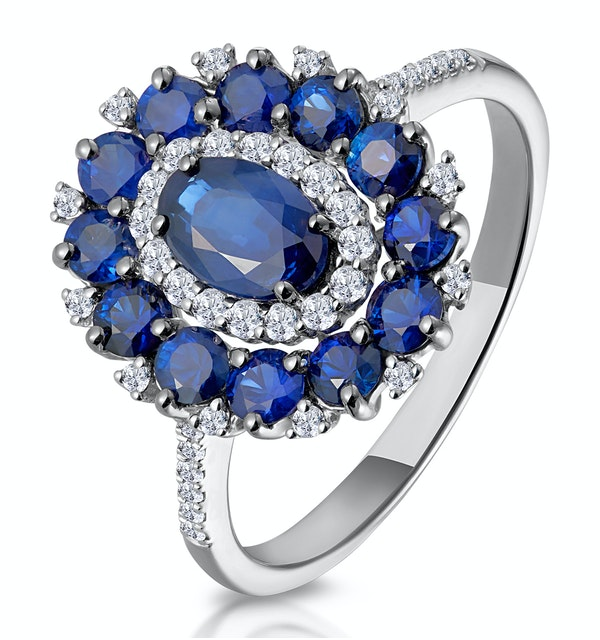 1.55ct Sapphire Asteria Diamond Halo Ring in 18K White Gold - image 1