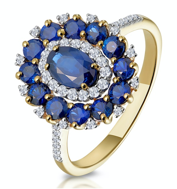 1.55ct Sapphire Asteria Collection Diamond Halo Ring in 18K Gold - image 1