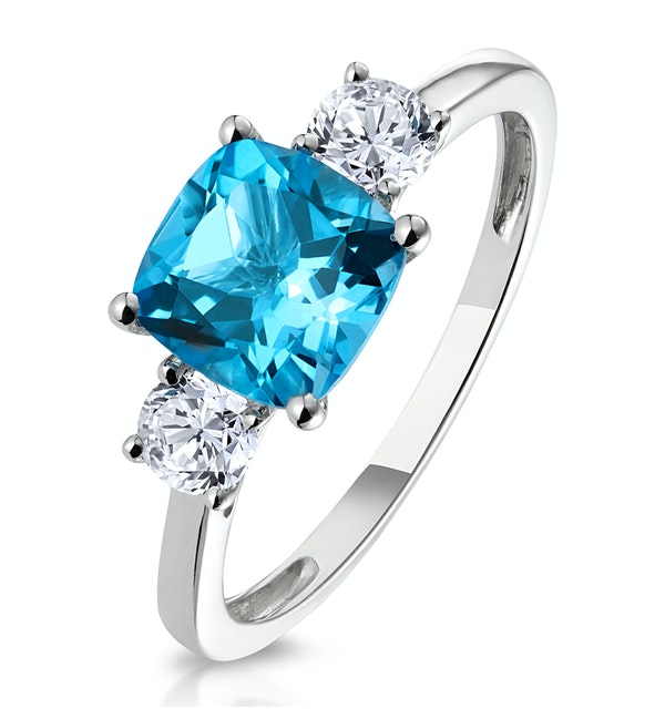2.50ct Cushion Cut Blue Topaz Diamond Asteria Ring in 18K White Gold - image 1