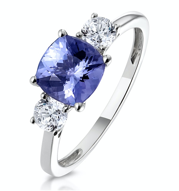 1.60ct Cushion Cut Tanzanite Diamond Asteria Ring in 18K White Gold - image 1