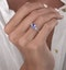 1.60ct Cushion Cut Tanzanite Diamond Asteria Ring in 18K White Gold - image 3