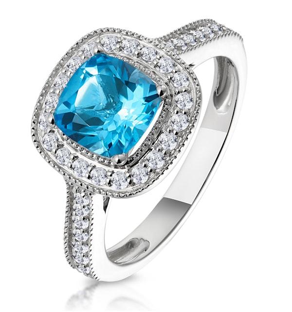 2.50ct Cushion Blue Topaz Diamond Halo Asteria Ring in 18K White Gold - image 1