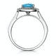 2.50ct Cushion Blue Topaz Diamond Halo Asteria Ring in 18K White Gold - image 2