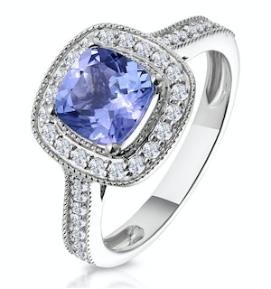 1.60ct Cushion Tanzanite Diamond Halo Asteria Ring in 18K White Gold