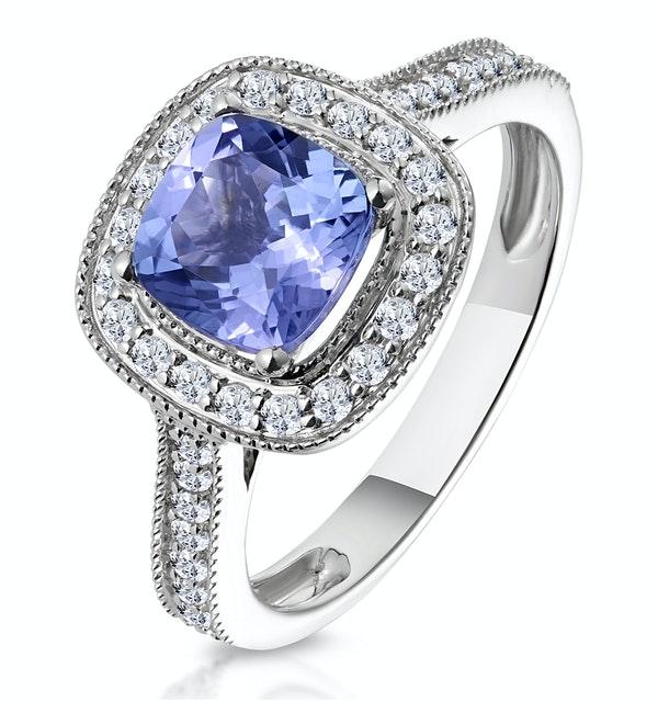 1.60ct Cushion Tanzanite Diamond Halo Asteria Ring in 18K White Gold - image 1