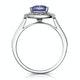 1.60ct Cushion Tanzanite Diamond Halo Asteria Ring in 18K White Gold - image 2