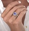 1.60ct Cushion Tanzanite Diamond Halo Asteria Ring in 18K White Gold - image 3