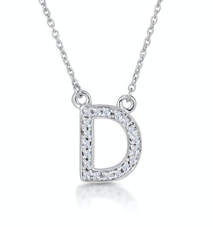 Initial 'D' Necklace Diamond Encrusted Pave Set in 9K White Gold