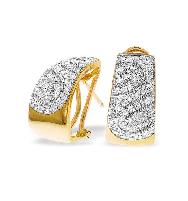 9K Gold Diamond Detail Earrings (0.74ct) - image 1