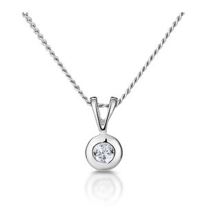 Solitaire Pendant Necklace 0.05CT Diamond 9K White Gold