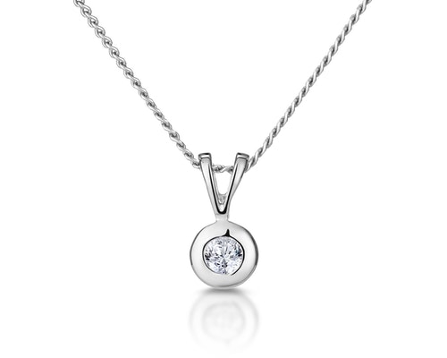 White Gold Diamond Solitaire Pendants And Necklaces