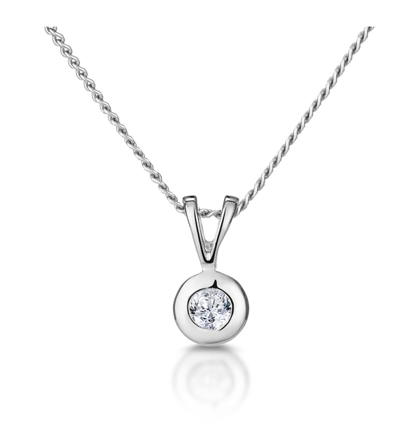 Solitaire Pendant Necklace 0.05CT Diamond 9K White Gold - image 1