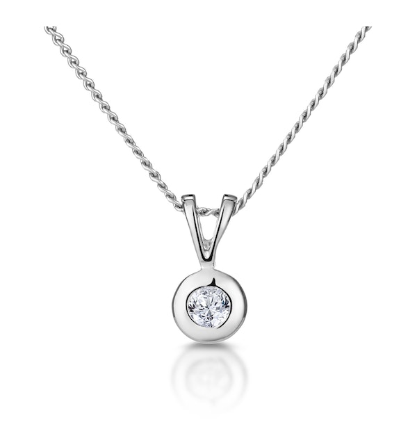 Solitaire Pendant 0.05CT Diamond 9K White Gold - image 1