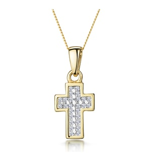 0.15ct Diamond Pave Cluster Cross in 9K Gold