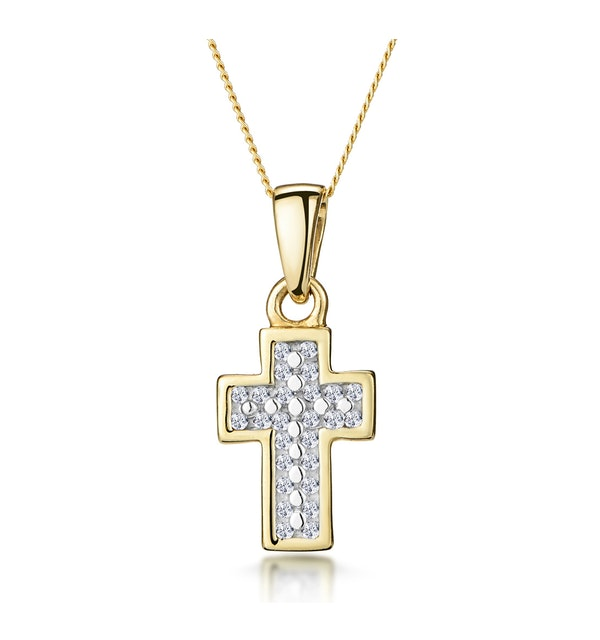 0.15ct Diamond Pave Cluster Cross in 9K Gold - image 1