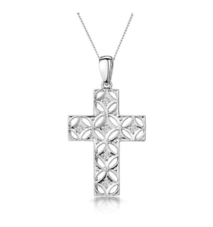0.10ct Diamond Filigree Cross Necklace in 9K White Gold