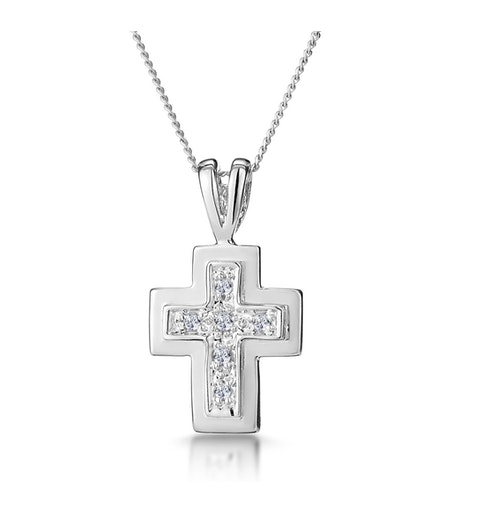 Diamond Cross Necklace with Straight Edges in 9K White Gold - image 1