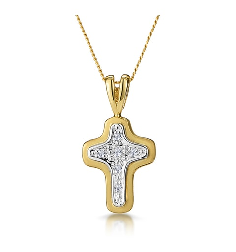 Diamond Cross Necklace with Curved Edges in 9K Gold - image 1