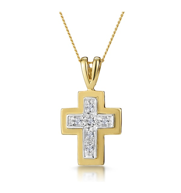 Diamond Cross Necklace with Straight Edges in 9K Gold - image 1