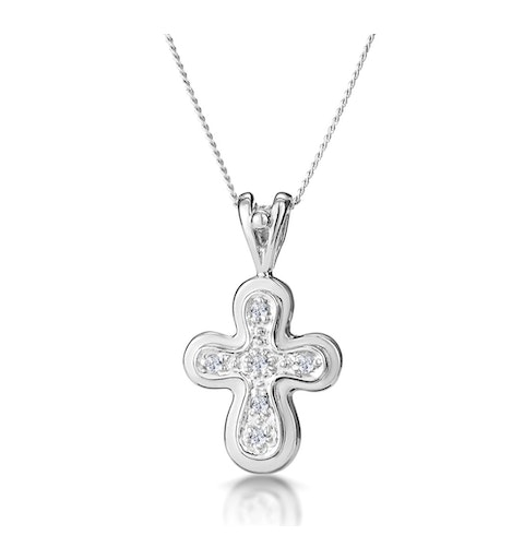 Diamond Cross Necklace with Rounded Edges in 9K White Gold - image 1