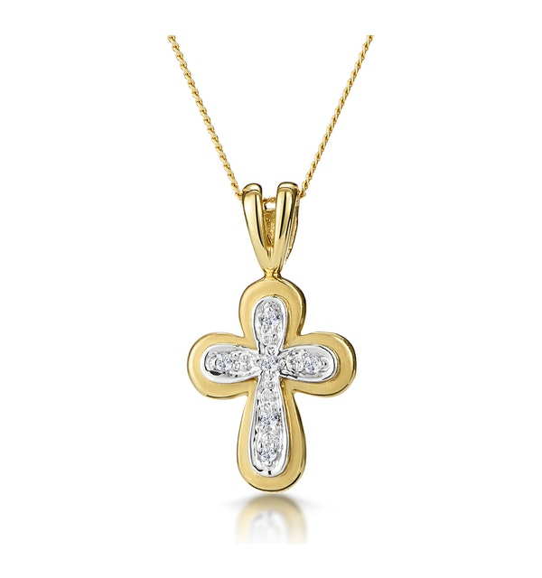Diamond Cross Necklace with Rounded Edges in 9K Gold - image 1