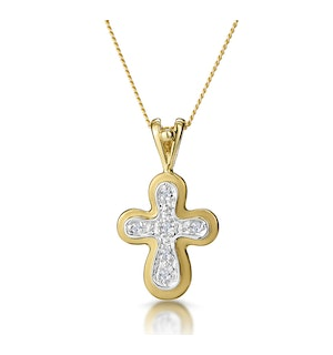 Diamond Cross Necklace with Rounded Edges in 9K Gold