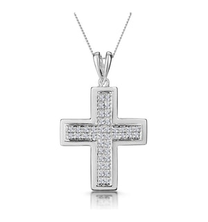 0.26ct Diamond Pave Cross Necklace in 9K White Gold
