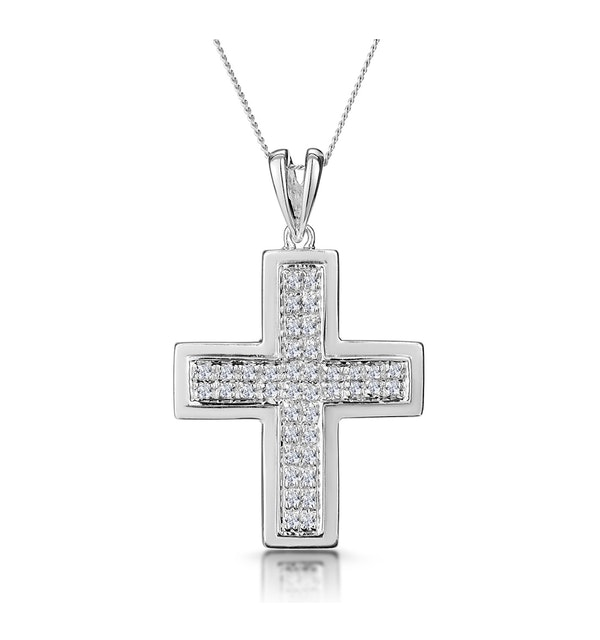 0.26ct Diamond Pave Cross Necklace in 9K White Gold - image 1