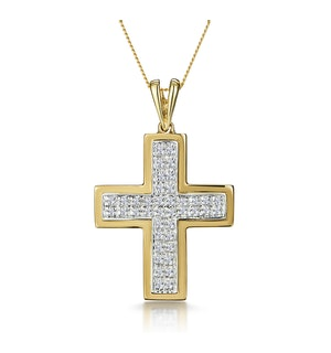 0.26ct Diamond Pave Cross Necklace in 9K Gold