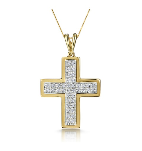 0.26ct Diamond Pave Cross Necklace in 9K Gold - image 1