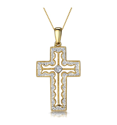 0.15ct Diamond Pave Filigree Cross Necklace in 9K Gold - image 1