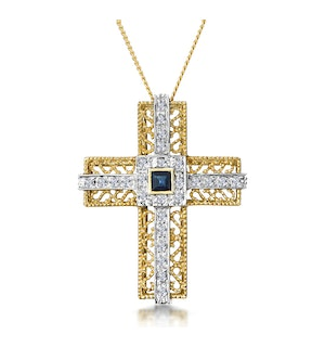 Sapphire and Diamond Pave Filigree Cross Necklace in 9K Gold