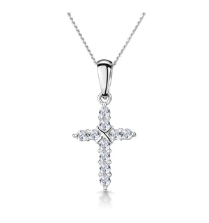 0.21ct Diamond Bonded Cross Necklace in 9K White Gold