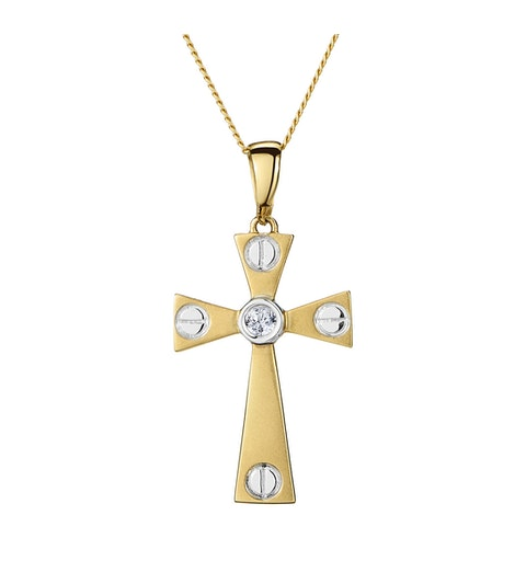 Diamond Centre Cross Necklace in 9K White Gold - image 1