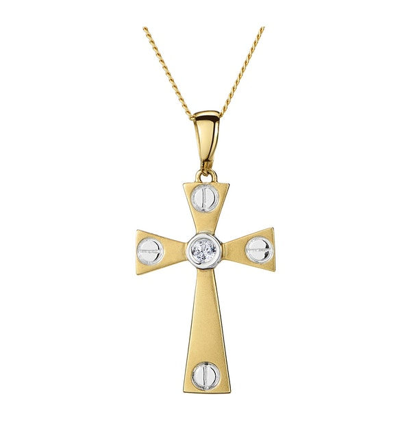 Diamond Centre Cross Necklace in 9K White Gold - image 1