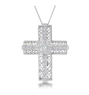 0.30ct Diamond Filigree Cross Necklace in 9K White Gold