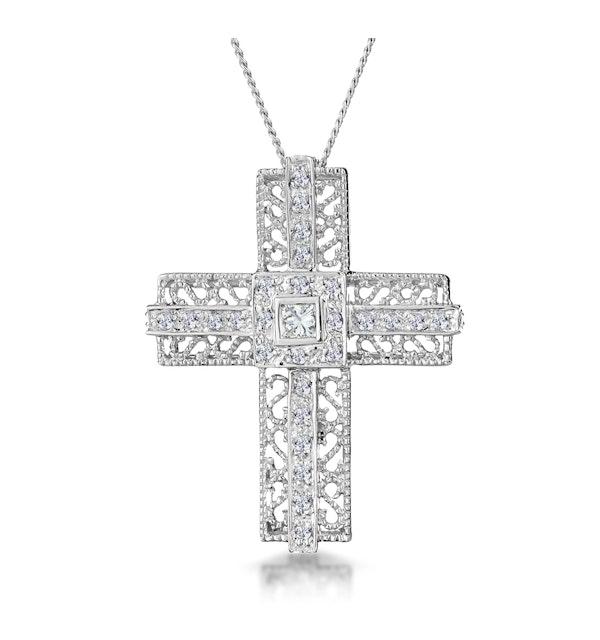 0.30ct Diamond Filigree Cross Necklace in 9K White Gold - image 1