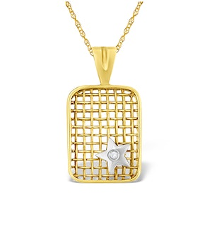 9K Gold Diamond Star Design Net Pendant