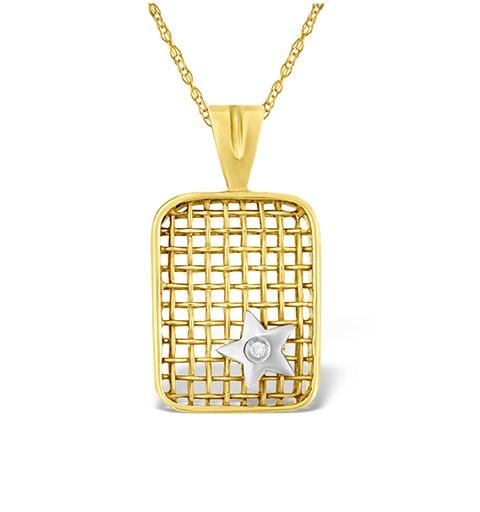 9K Gold Diamond Star Design Net Pendant - image 1
