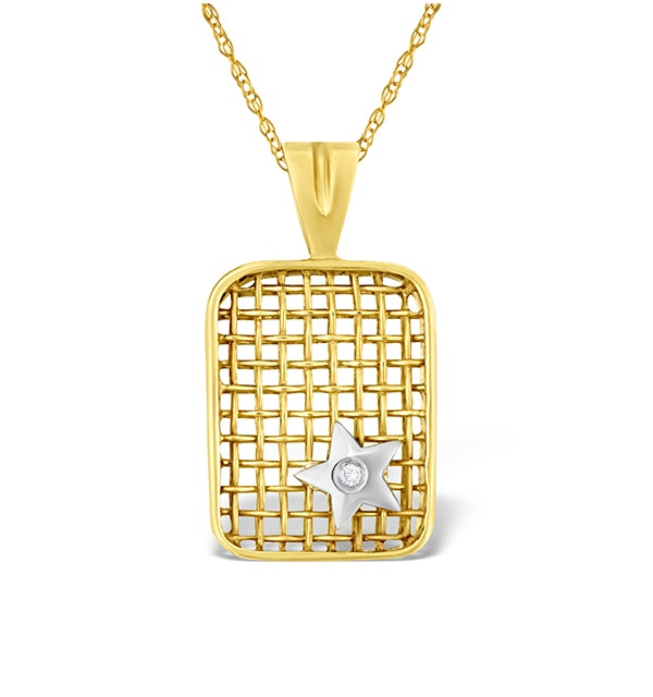 9K Gold Diamond Star Design Net Pendant - image 1
