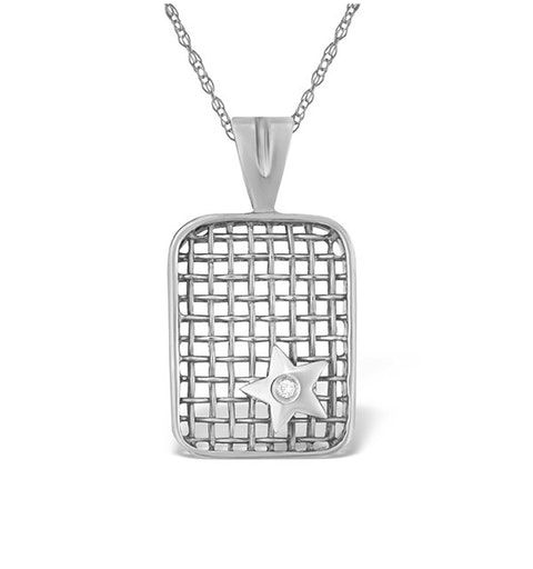 0.02ct Diamond and 9K White Gold Pendant - image 1