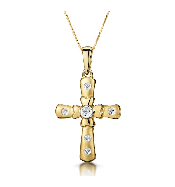 Diamond Inlaid Cross Necklace with Centre Flower in 9K Gold - image 1