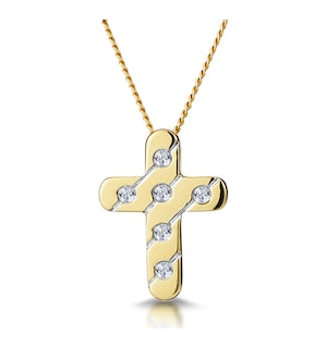 Diamond Inlaid Cross Necklace in Grooved 9K Gold