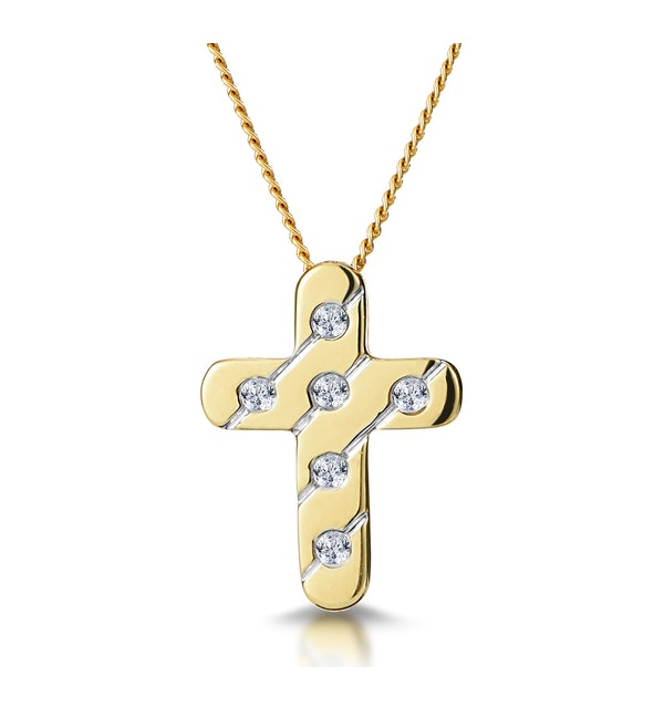 Diamond Inlaid Cross Necklace in Grooved 9K Gold - image 1