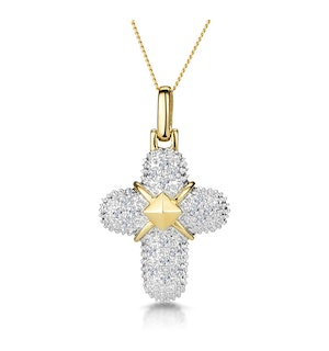 0.16ct Diamond Pave Bonded Cross Necklace in 9K Gold
