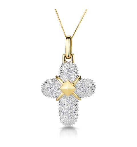0.16ct Diamond Pave Bonded Cross Necklace in 9K Gold - image 1